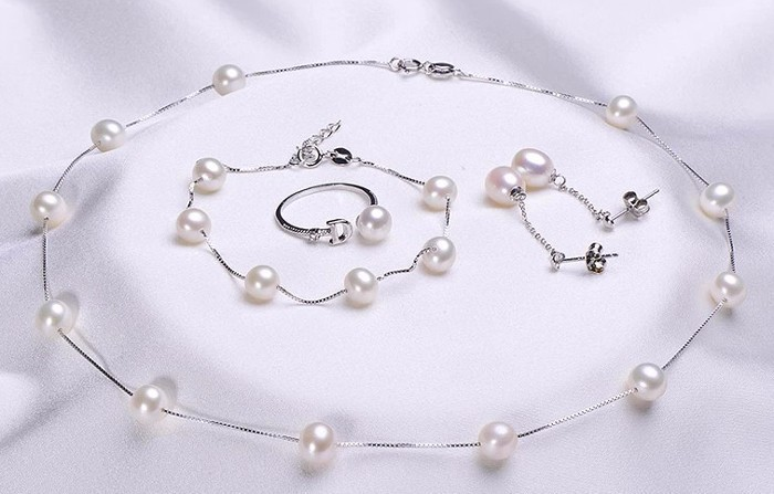 Natural Freshwater pearl Jewelry Sets Real Pearl Necklace Bracelet Round Pearl Jewelry Sets for women Fine Pearl Jewelry(China (Mainland))