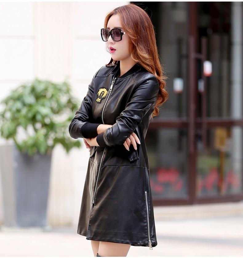 2016 new leather women coats long paragraph windbreaker jacket motorcycle coat