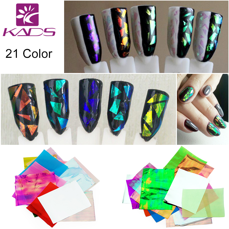 KADS 21pcs/pack Holographic DIY Nail Art Broken Glass Foil Finger Stencil Decal Sticker 21 Colors Nail Art Mirror Manicure Tool(China (Mainland))