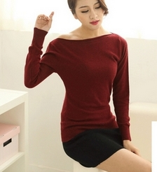 2015 autumn and spring pure cashmere sweater collar women sweater big collar strapless neckline seam ladys