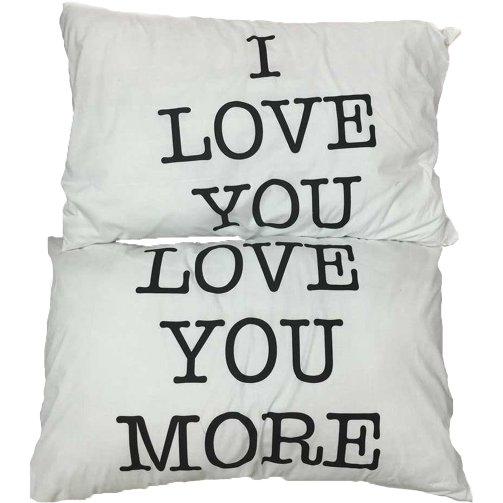 Love you more pair of printed pillow cases Matching Pillowcases - Good Morning Couple Pillow Covers(China (Mainland))