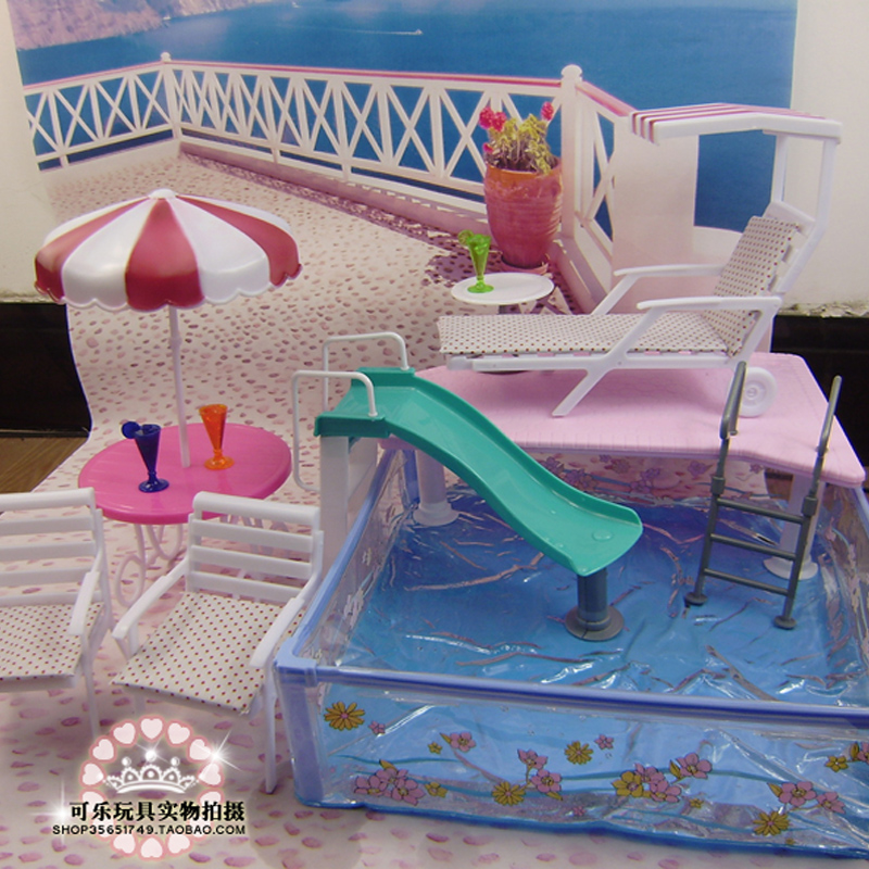 Doll accessories for barbie doll toys pool large square pool umbrella beach chair can slide for for Barbie doll house with swimming pool
