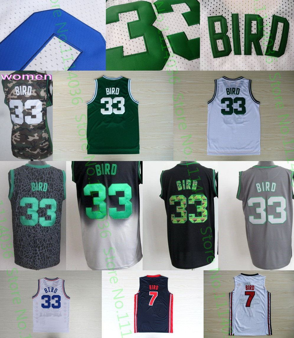 New Shop black grey camo #33 Larry Bird Jersey Embroidery logos Team USA #7 Larry Bird College Basketball Jersey wholesale price(China (Mainland))