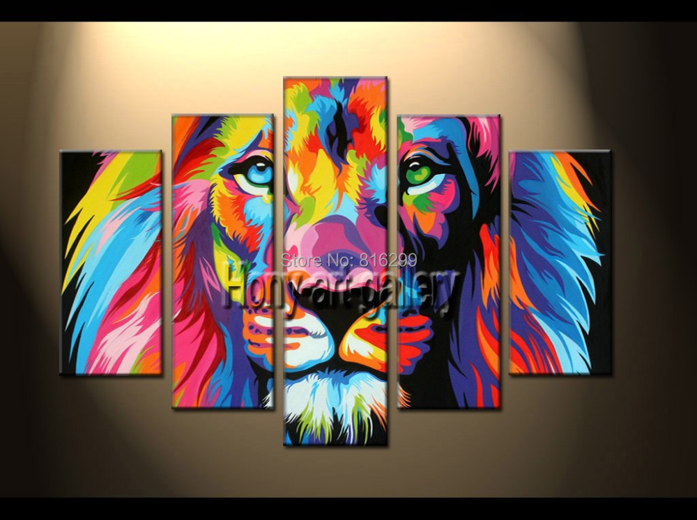 Handpainted Framed 5 Panels Modern Animal Oil painting on canvas, wall decoration, Home wall art picture,color, Lion king SH135(China (Mainland))