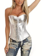 Fashion Lingerie overbust Silver Shiny Zipper sexy Corset top waist training corsets and bustiers
