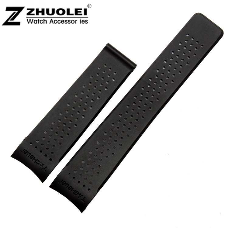 Гаджет  HOT 22mm New Top grade Black Diving Silicone Rubber Holes Watch Band Strap None Часы