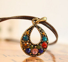 Hot !!! Antique Bohemian Jewelry Statement Necklaces for Women Rhinestone Gem Waterdrop Pendant Necklace sweater chain