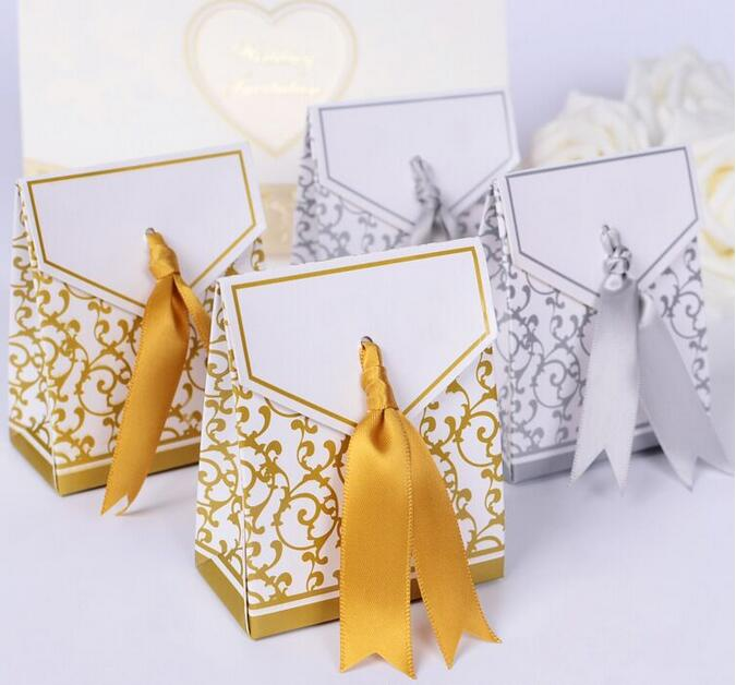 50pcs/lot New Gold/Silver Wedding Favor Candy Boxes Ribbons Are Included Wedding Party Gift Box(China (Mainland))