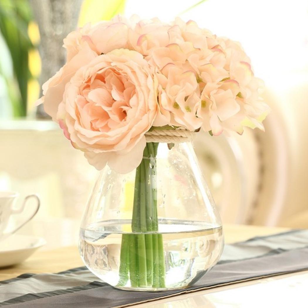 1 Pcs Hydrangeas Bridal Wedding Bridesmaid Decor White Roses Silk Flower Peony Bouquet 208(China (Mainland))
