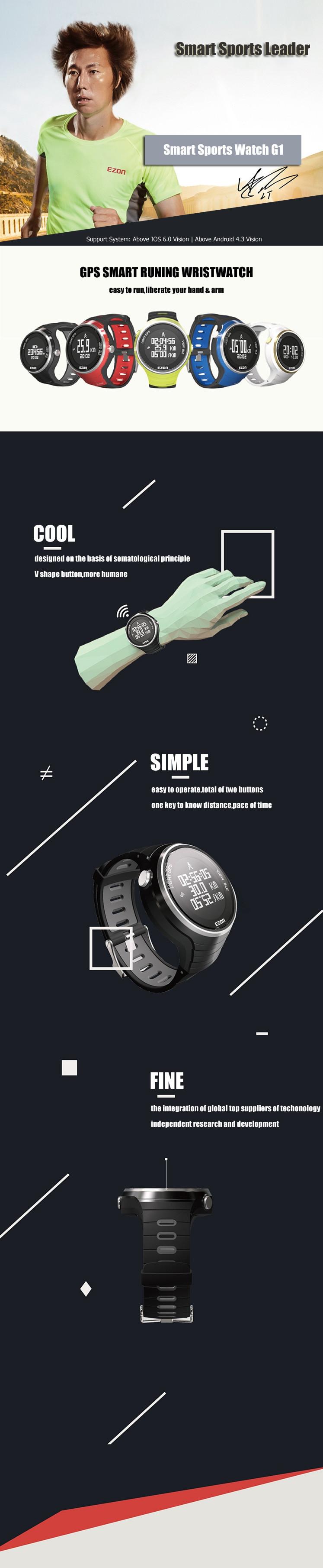 Ezon часы G1A01 G1A03 G1A04 Профессиональные mutifunction спорта работает смарт GPS наручные спорт умный часы