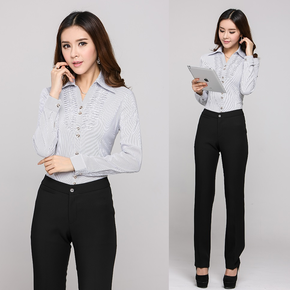 New Arrival 2015 Spring And Autumn Formal Ladies Pant Suits Women 2 Piece Pant And Shirt Sets ...