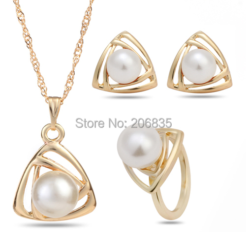 Retail Classical Wedding Gold Platinum Plated Pearl Jewelry Set Triangle Geometric Jewelry Sets,Pendant Necklace/Earrings/Ring(China (Mainland))