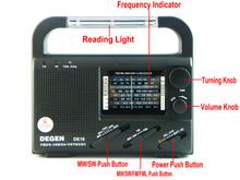 DEGEN DE16 FM/FML MW SW Crank Dynamo Solar Emergency Radio World Receiver A0901A