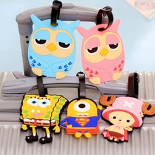 Travel Large Luggage Tag Cute Cartoon Silica Gel Superman SpongeBob Suitcase Baggage Boarding Tags Portable Travel Label(China (Mainland))