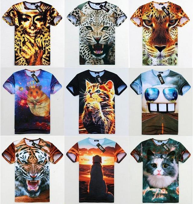 Hot Sale Summer/Autumn Men's 3D Casual T-shirts Fashion O-Neck Animals Pattern Short Sleeve Wen Tops Big Size M L XL XXL(China (Mainland))