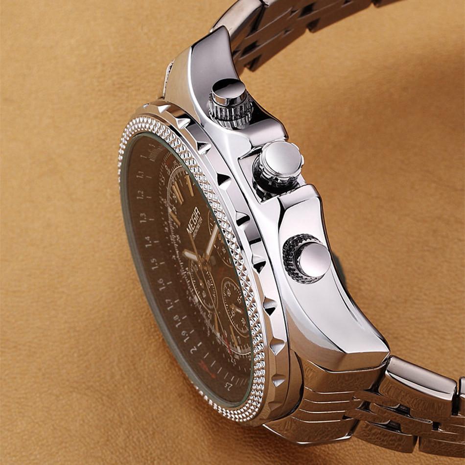 MEGIR Часы Мужчины Моды Случайные Роскошный Полный Стали Смотреть Платье Часы Автоматическая Дата Хронограф Кварцевые Часы