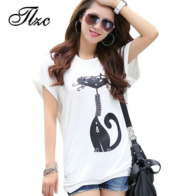 Black &amp; White PLUS SIZE L-4XL Summer Women Loose Tees 2013 New Korean Cute Cate Printed Lady Fashion T-Shirt Free Shipping C3111Одежда и ак�е��уары<br><br><br>Aliexpress