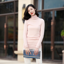 Free shipping turtleneck long sleeve 100 pure cashmere red long sweater for spring autumn winter