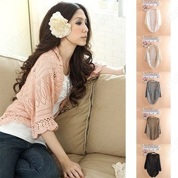 2013 New Fashion Fall Women Lady Puff Sleeve Cardigan Knitted Tops Sweater Outwear  000L