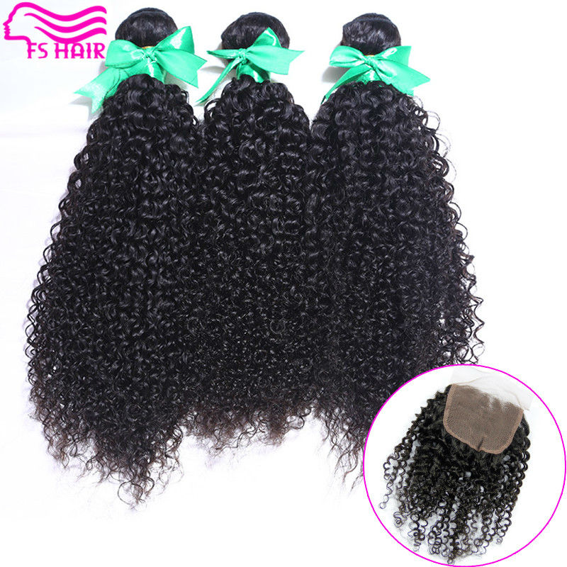 Brazilian kinky curly virgin hair with closure 4pcs Ms Lula Unprocessed Brazilian Hair 3 Bundles and 1pc Free Part Lace Closure<br><br>Aliexpress
