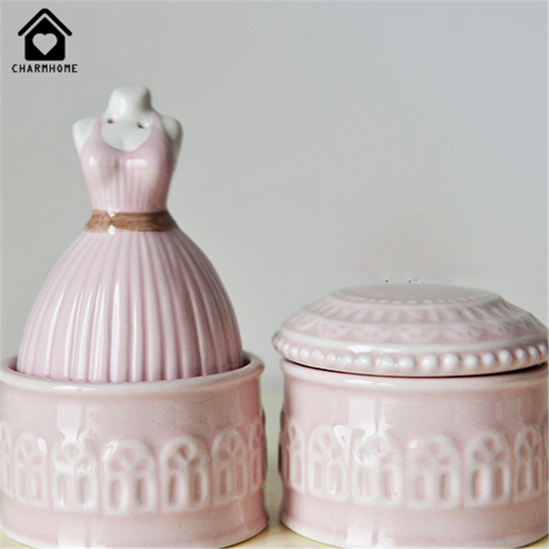 CharmHome French pink lace small jewelry box Gucci ceramic ornaments jewelry box box of candy boxes of deciduous teeth(China (Mainland))