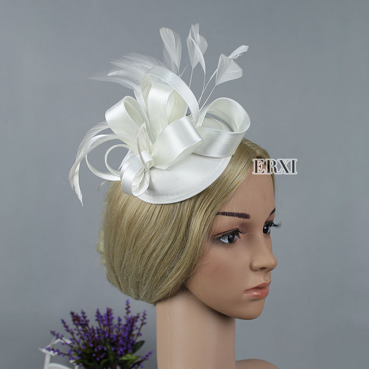 New style High Quality Beige/White/Ivory Birdcage Bridal Flower Feathers Fascinator Bride Wedding Face Hats(China (Mainland))