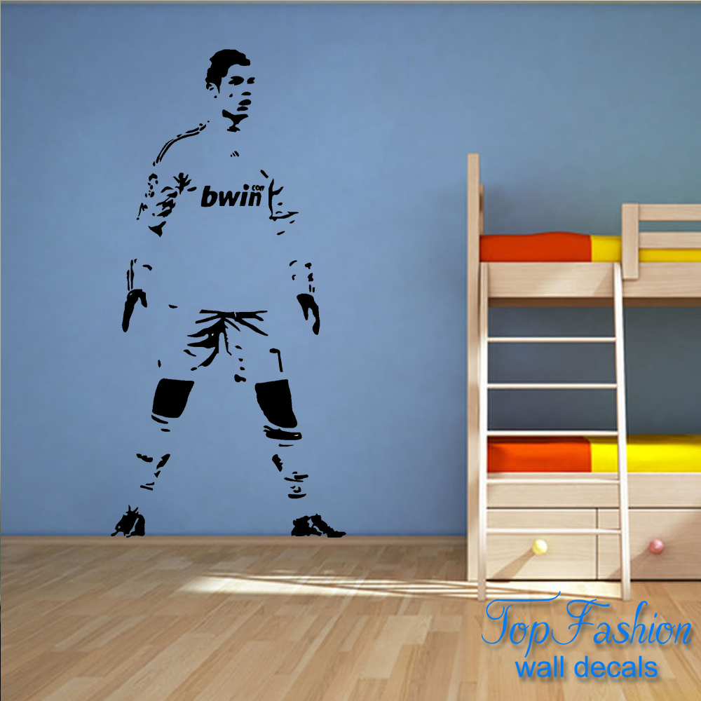 Cristiano Ronaldo Football Player Children's Bedroom Wall Art Sticker Picture 4 SIZES(China (Mainland))
