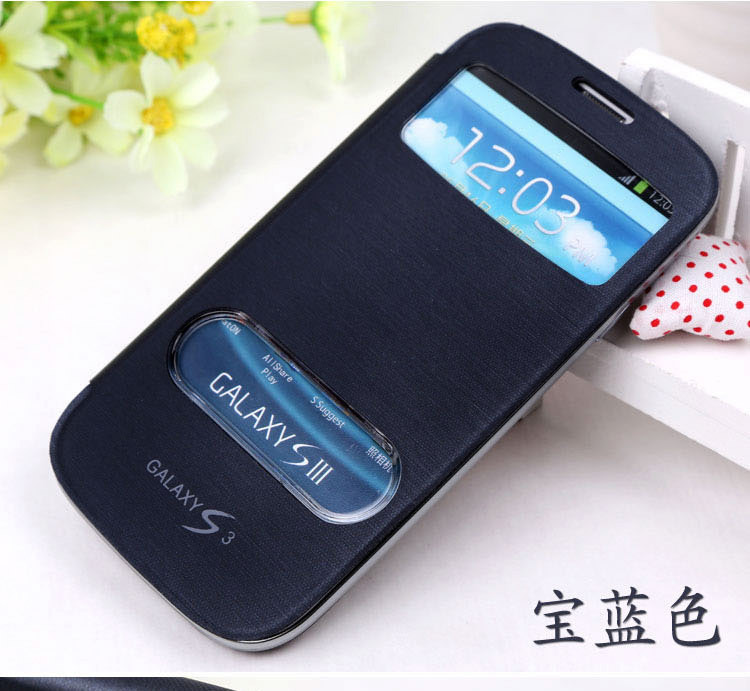 1x Luxury S Windows Leather Case Flip Cover for Samsung Galaxy S3 Neo GT- i9301/SIII Neo+I9300i Battery Housing Cover Retail Box(China (Mainland))