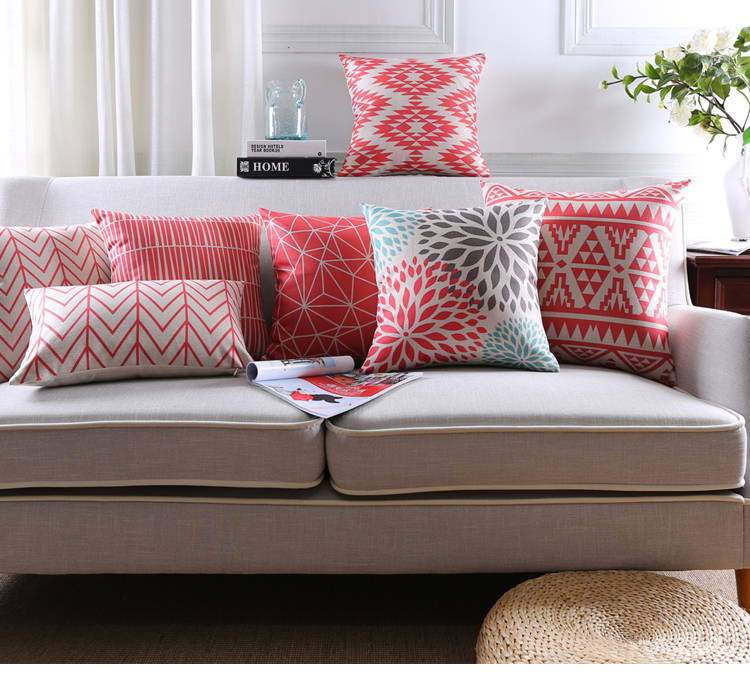 Abstract Geometric Linen Cotton Cushion Red Throw Pillows Sofa home decor no core included(China (Mainland))