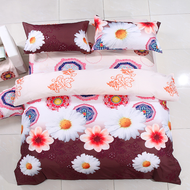 free shipping new customized colorful sunflower good quality polyester bedding 3d printed duvet cover set bed sheets(China (Mainland))