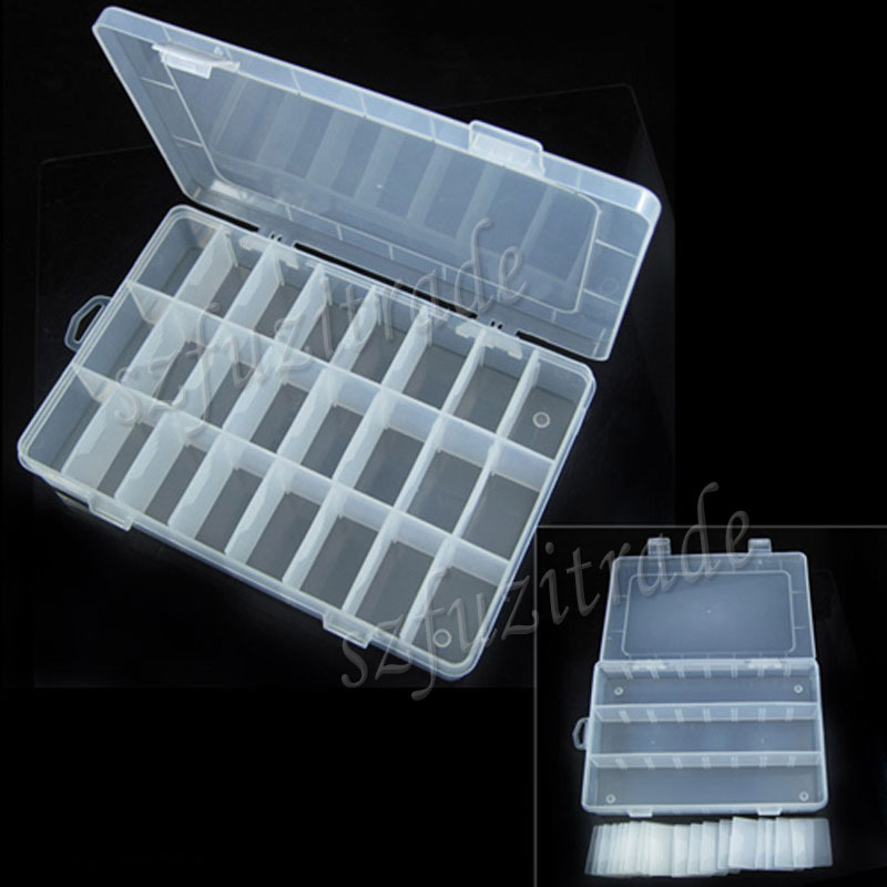 Free Shipping 2014 New Adjustable Plastic Organizer 24 Compartment Storage Box Earring Jewelry Bin Case Container AIA00341(China (Mainland))