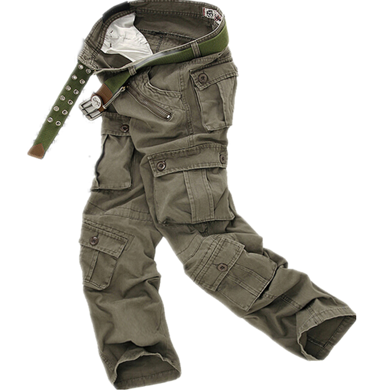 2015 Famous Brand Men's Cargo Pants high-quality Casual Cotton Loose Camouflage Military pant Pockets Men Fashion Trousers(China (Mainland))