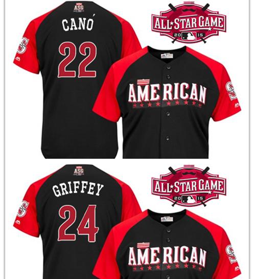 Robinson Cano Jersey 2015 MLB All Star Jersey Seattle Mariners 22 Robinson Cano,24 Ken Griffey Jersey Size S-XXXL Free Shipping(China (Mainland))