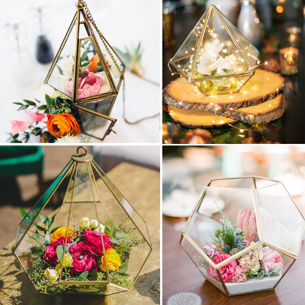 Geometric lanterns candle holders flower holder terrariums