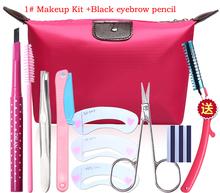 Eyebrow Makeup Kit Eyebrow pencil+Tweezers+brushes+Trimmer+Eyebrow mold+Cosmetic scissors+blade+Bag M2034(China (Mainland))