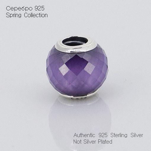 Чистый 925-Sterling-Silver аннотация грановитая CZ камни бусины подходит пандора браслет DIY женщины ювелирных изделий