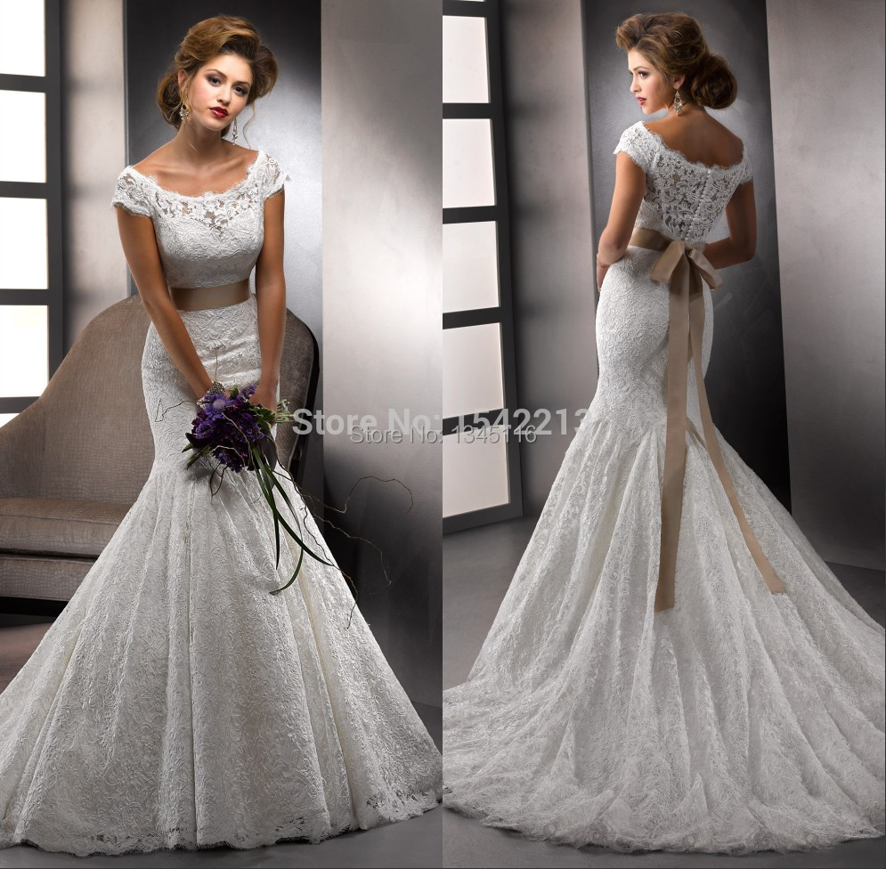 Buy Short Sleeves Lace Mermaid Wedding