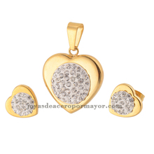 gold plated stainless steel crystal paved gold bridal jewelry sets