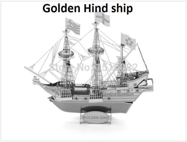 Golden Hind ship model 3D DIY Metal build model for adult/kids without tool educational diy Jigsaw Puzzle toys(China (Mainland))
