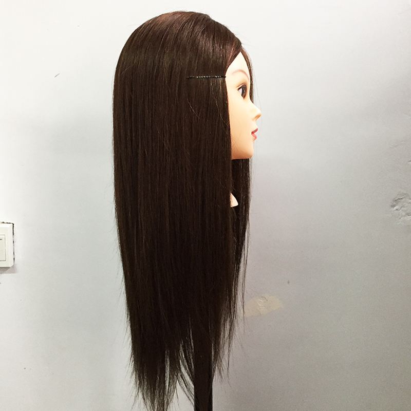 18Inch Brown Mannequin Professional Hairdressing Training Head 40% Real Long Human Hair Cosmetology Great Quality Mannequin Head
