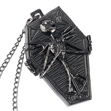 Buy Retro Fashion Cool The Nightmare Before Christmas Quartz Pocket Watch Coffin Shape Necklace Pendant for Women Men Children Gift for $3.15 in AliExpress store