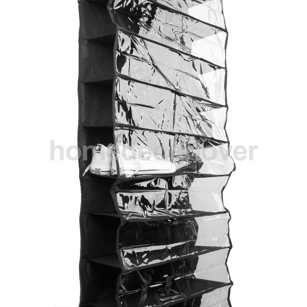 26 Pockets Black Shoe Rack Storage Organizer Hanging Over the Door Closet(China (Mainland))