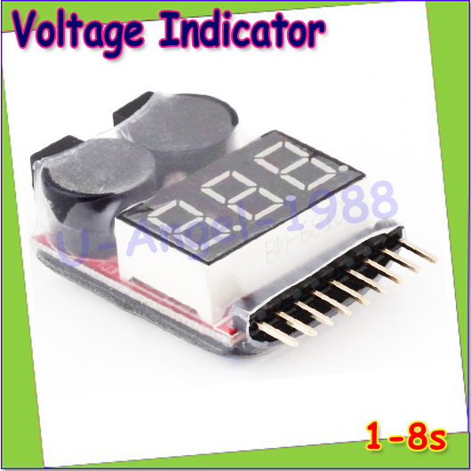 1pcs Hot Sell1-8S LED Low Voltage Buzzer Alarm Lipo Voltage Indicator Checker Tester Wholesale free shipping
