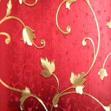 10 meters- gold background wallpaper / high-grade gold and silver foil wallpaper / red wallpaper / fashion floral wallpaper(China (Mainland))