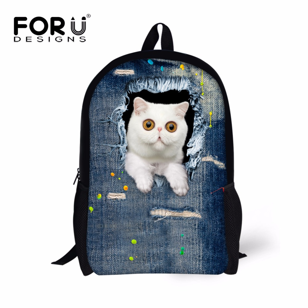 Cute Cartoon Cat Backpack for Teenagers Girls 3D Animal Head School Travel Bagpack Vintage Denim Blue Kids Laptop Back Pack(China (Mainland))
