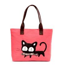 2016 Hot Selling Cartoon Kitten Handbag Canvas Casual Shoulder Bag Cat Bag Women's Big Capacity Tote
