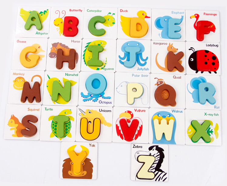 Preschool Wood A to Z Animal Card English Alphabet Baby Learning Toys Educational Enlighten Jigsaw Puzzle(China (Mainland))
