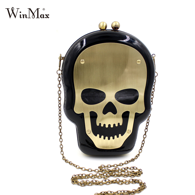 Terror Ghost Skeleton Skull Head Cufflink handbag for women evening prom messenger bag Skull crossbones Party chain shoulder bag(China (Mainland))