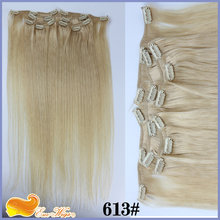 Peruvian Virgin Hair 613# Blonde Color Clip In Extensions for White Women 7pcs Full head Set Clip In Hair(China (Mainland))