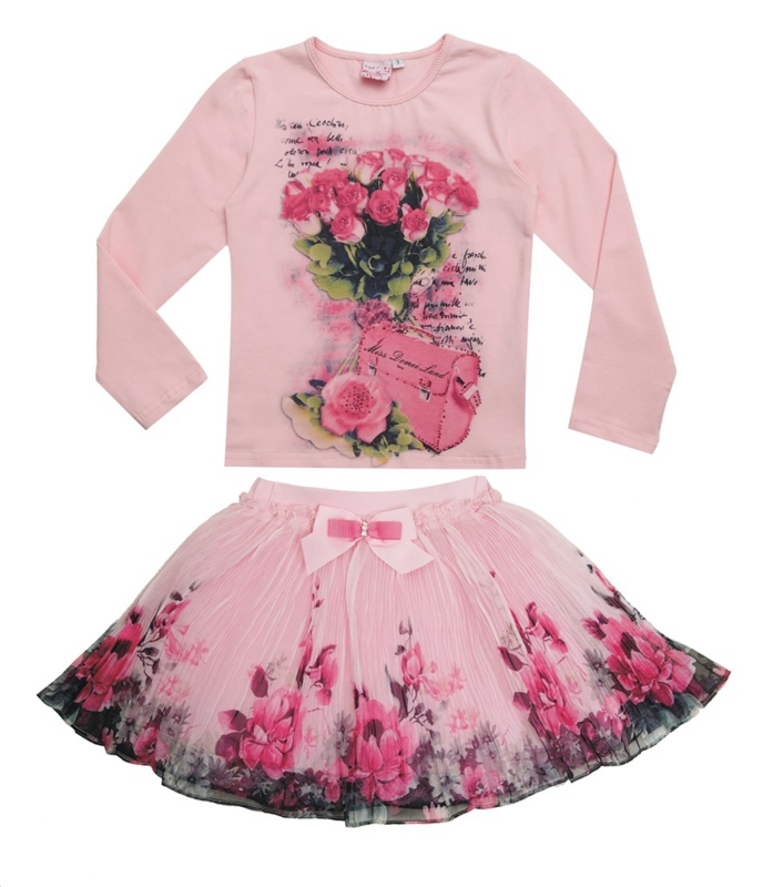 New Fashion 2015 Boutique Outfits Sets For Cute Kids Girl Print Floral Long Sleeve Shirts Tops+Tutu Skirts Sets With Bow Clothes(China (Mainland))